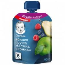 """Gerber Пюре детское """"Яблоко, груша, малина, черника"""" с 6 мес 90 гр"""