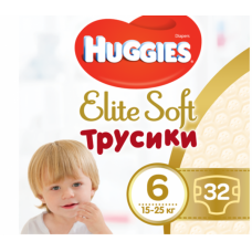 Huggies Elite Soft  Трусики  XXL 6 (15-25 кг) 32 шт